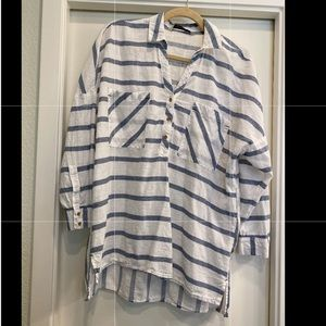 Blue and white striped tunic from Zara